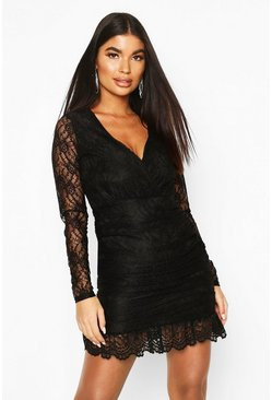 Womens Black Petite Lace Plunge Ruffle Hem Mini Dress
