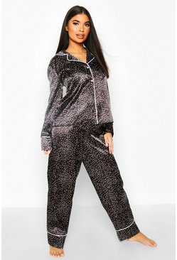 Womens Black Petite Ditsy Polka Dot Print PJ Set