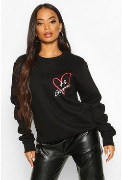 Womens Black Petite 'Hi Gorgeous' Pocket Print Sweat Top