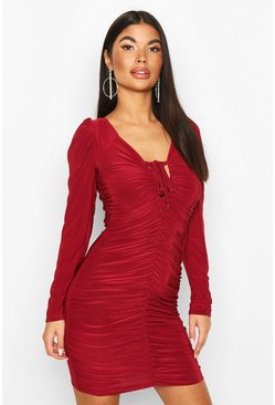 Womens Berry Petite Puff Sleeve Slinky Ruched Mini Dress