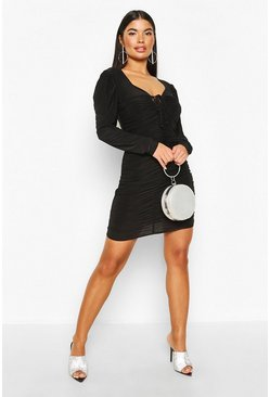 Black Petite Puff Sleeve Slinky Ruched Mini Dress