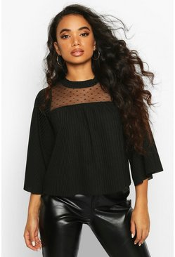 Dam Black Petite High Neck Dobby Mesh Rib Top