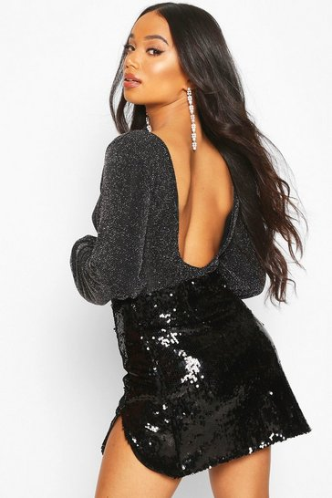 Womens Black Petite Volume Sleeve Low Back Glitter Bodysuit