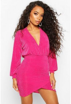 Petite Volume Sleeve Wrap Glitter Mini Dress, Pink, Donna