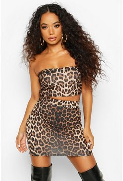 Petite Leopard Bandeau & Skirt Co-Ord, Brown, ЖЕНСКОЕ
