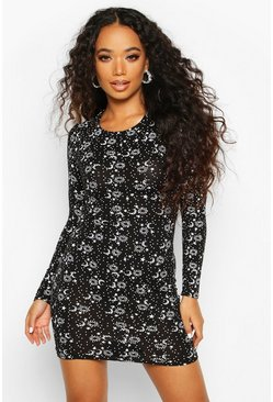 Womens Black Petite Moon & Stars Print Bodycon Dress