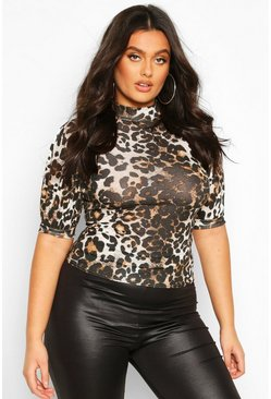 High Neck Puff Sleeve Leopard Print, Brown