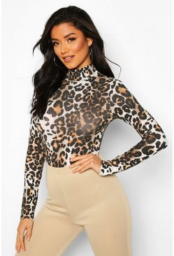 Womens Brown High Neck Leopard Long Sleeve Bodysuit