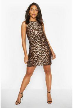 High Neck Leopard Print Shift Dress, Brown