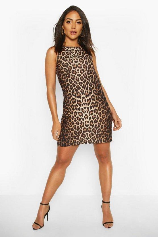 High Neck Sleeveless Leopard Print Shift Dress