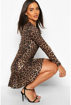 Leopard Long Sleeve Ruffle Hem Skater Dress, Brown