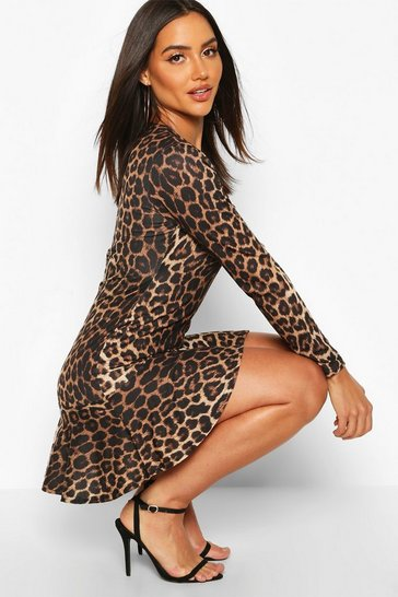 Brown Leopard Long Sleeve Ruffle Hem Skater Dress