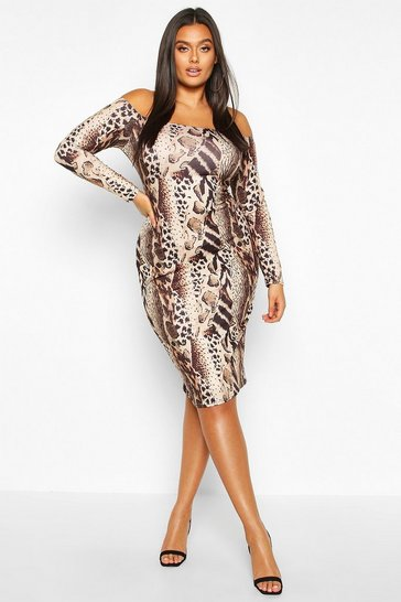 Brown Plus Off The Shoulder Leopard Print Midi Dress