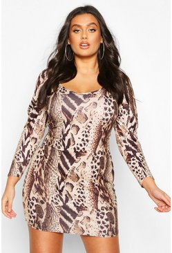 Plus Leopard Print Puff Sleeve Plunge Bodycon Dress, Brown