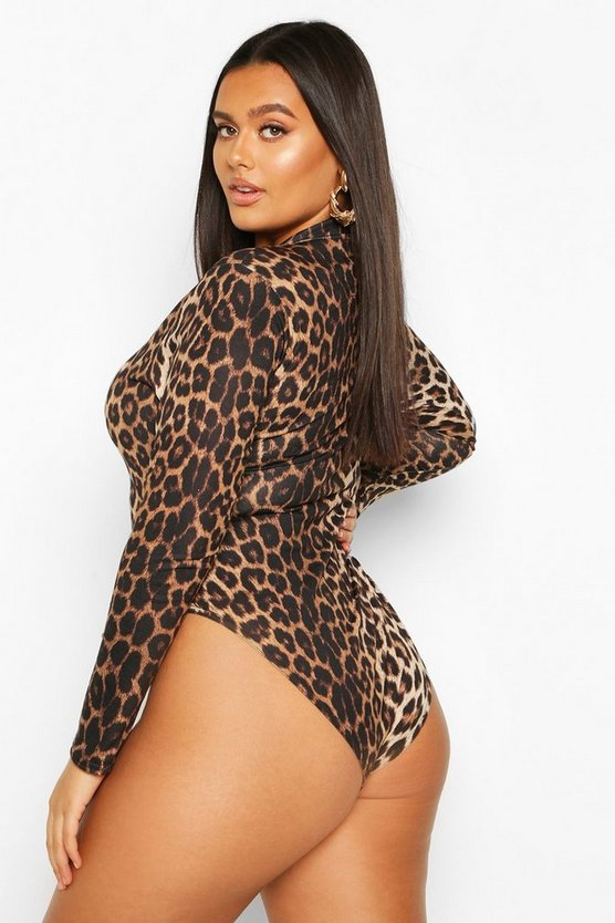 Plus Leopard High Neck Long Sleeve Bodysuit
