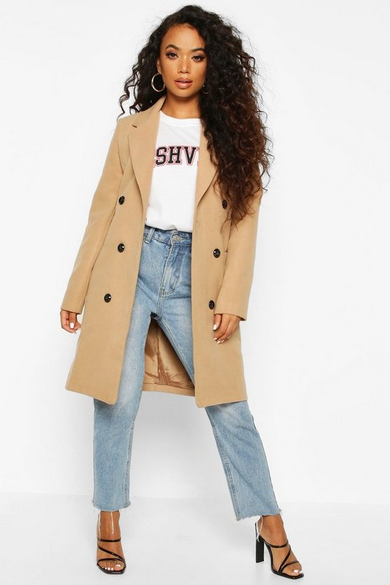 Camel Petite Double Breasted Wool Look Coat