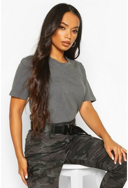 Womens Grey Petite Stonewash T-Shirt