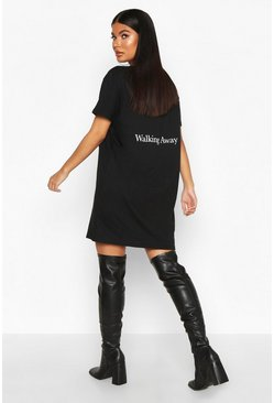Womens Black Petite 'Walking Away' Back Slogan T-Shirt Dress