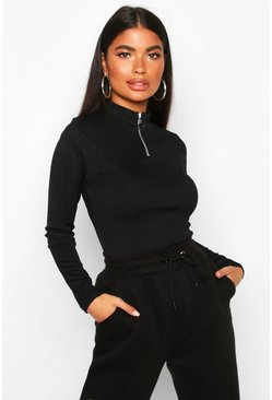 Petite Zip Up Ribbed High Neck Top, Black