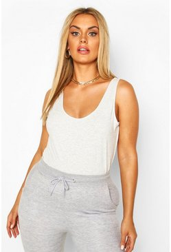 Grey marl Plus Basic Scoop Neck Vest Top