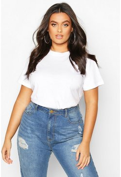 White Plus Basic Scoop Neck Tshirt