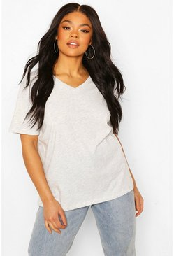 Plus V neck Basic Tshirt, Grey marl
