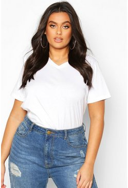 White Plus V neck Basic Tshirt