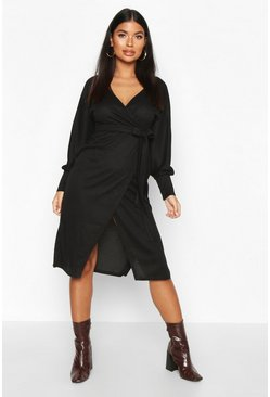 Womens Black Petite Wrap Detail Knitted Rib Midi Dress