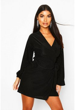 Womens Black Petite Ribbed Velvet Wrap Dress