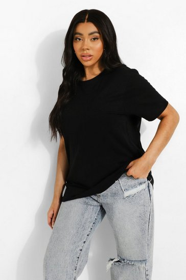 Black Plus Round Neck Cotton Tee