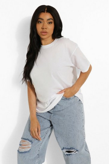 Womens White Plus Round Neck Cotton Tee
