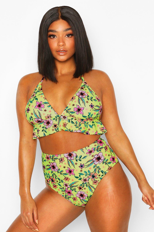 Plus Neon Garden Ruffle High Waist Bikini 8