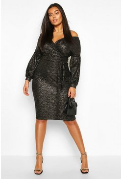Plus Metallic Glitter Off The Shoulder Midi Dress, Black, MUJER