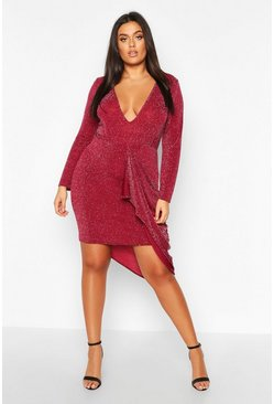 Wine Plus Glitter Plunge Midi Dress
