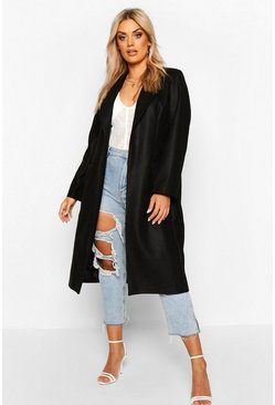 Womens Black Plus Tailored Coat