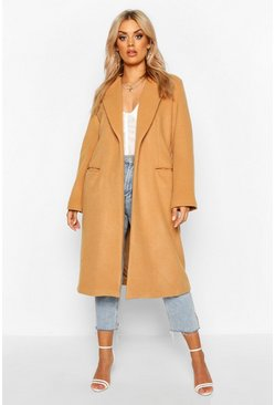Womens Camel Plus Tailored Coat