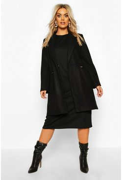 Plus Zip Pocket Tailored Coat, Black