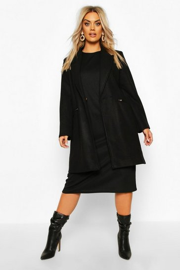 Womens Plus Zip Pocket Tailored Coat