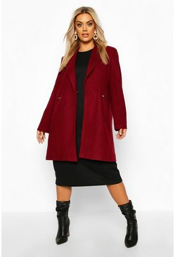 Womens Burgundy Plus Zip Pocket Tailored Coat