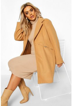 Womens Camel Plus Zip Pocket Tailored Coat