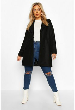 Womens Black Plus Double Breasted Coat
