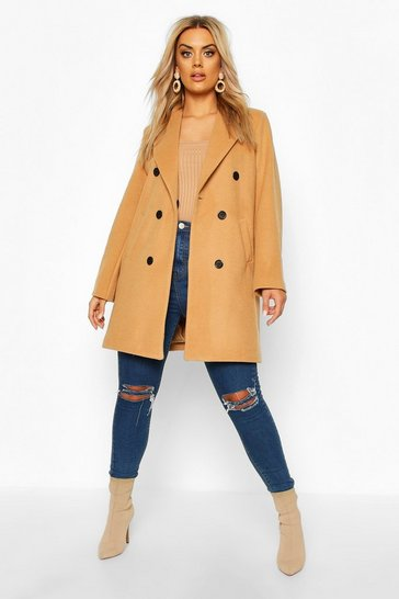 Womens Camel Plus Double Breasted Coat