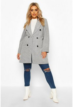Womens Grey Plus Double Breasted Coat
