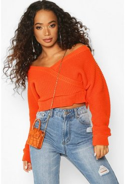 Womens Orange Petite Rib Knit Wrap Kimono Sleeve Jumper