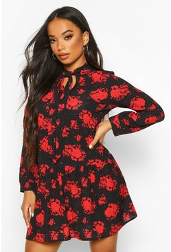 Black Petite Floral Smock Dress