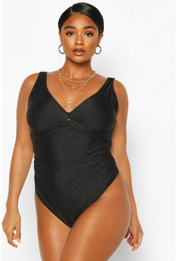 Plus Control Wrap Over Swimsuit, Black