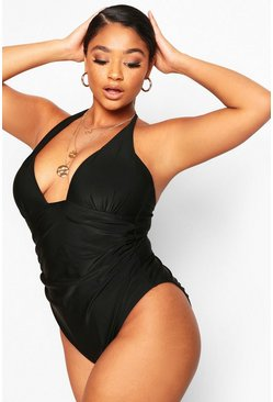 Black Plus Moulded Halterneck Control Swimsuit