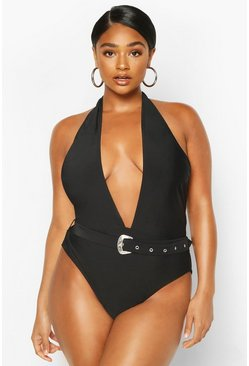Black Plus Plunge Halter Neck Belted Swimsuit