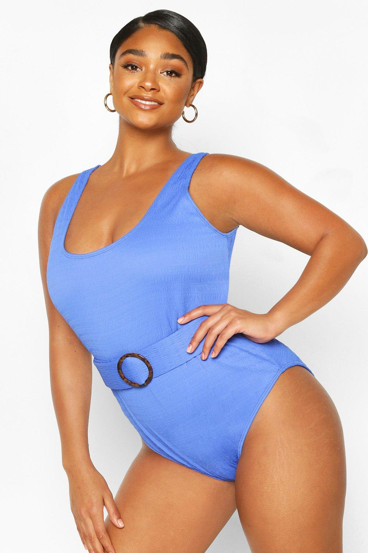 Vintage Bathing Suits | Retro Swimwear | Vintage Swimsuits Womens Plus Textured Crinkle Belted Scoop Bathing Suit - Blue - 16 $12.00 AT vintagedancer.com