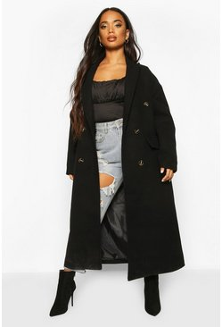 Black Petite Wool Look Double Breasted Long Line Coat